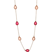 Carol Dauplaise Rose Goldtone Pink Long Station Linked 36 in. Necklace