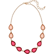 Carol Dauplaise Rose Goldtone Pink Cabachon Collar 18 in. Necklace