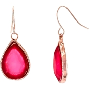 Carol Dauplaise Rose Goldtone Fuchsia Teardrop Earrings