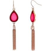 Carol Dauplaise Rose Goldtone Fuchsia Drop with Tassel Earrings