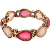 Carol Dauplaise Rose Goldtone Pear Shaped Fuchsia Tonal Stretch Bracelet