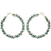 Panacea Mint Fabric Hoop Earrings With Mint Bead Wrapping