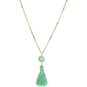 Panacea Mint Silk Tassel Pendant Necklace