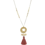 Panacea Rattan Pendant Necklace With Blush Tassel