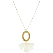 Panacea Rattan Pendant Necklace With White Fringe