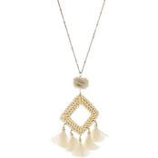 Panacea Rattan Square Pendant Necklace On Chain 30 in.