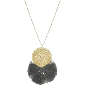 Panacea Pendant Necklace With Grey Fringe