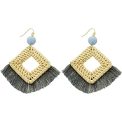 Panacea Rattan Statement Earring With Grey Fringe