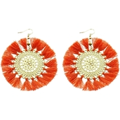 Panacea Coral Filigree Fan Earring