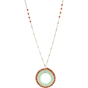 Panacea Mint and Coral Beaded Pendant Necklace 32  in.