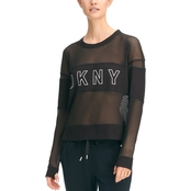 DKNY Sport Mesh Blocked Crewneck Sweatshirt with Outline HD Logo