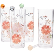 Martha Stewart Collection Citrus Tom Collins Glasses 4 pk.