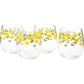 Martha Stewart Collection Citrus Stemless Wine Glasses 4 pc. Set