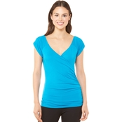 JW Cap Sleeve Double V Neck Top