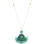 Panacea Rope Pendant Necklace With Turquoise Fringe