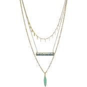 Panacea Three Layered Multi Necklace With Turquoise Stone Marquis Drop