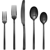 Cambridge Silversmiths 20 Pc Beacon Black Satin Flatware Set