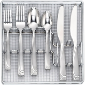 Cambridge Silversmiths 40 Pc Mena Frost Flatware Set with Chrome Buffet