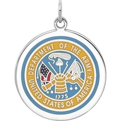 Sterling Silver Rhodium Plated US Army Logo Disc
