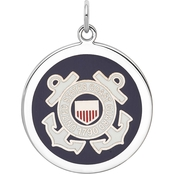 Sterling Silver Rhod-tone US Coast Guard Disc