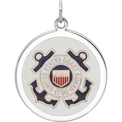 Sterling Silver Rhodiumtone US Coast Guard Disc