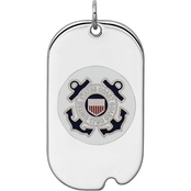 Sterling Silver Rhod-tone US Coast Guard Dog Tag