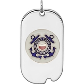 Sterling Silver Rhod-plated US Coast Guard Dog Tag
