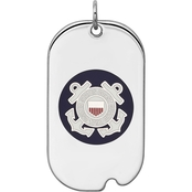 Sterling Silver Rhodium Plated US Coast Guard Dog Tag