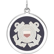 Sterling Silver Rhodium Plated US Coast Guard Disc