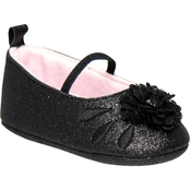 Laura Ashley Infant Girl Mary Jane with flower blk glitter