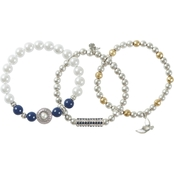 Lucky Brand Lapris and Pearl 2 Tone Stretch Bracelets