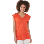 JW V Neck Cap Sleeve Henley Knit Top