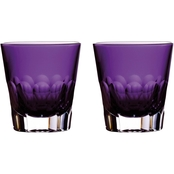 Waterford Jeff Leatham Icon Amethyst Double Old Fashioned Pair
