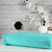 Peach & Oak Solid Sculpted Tangier Blue Turquoise Bath Towel - Single