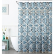 1888 Mills Peach and Oak Tatum Blue Shower Curtain