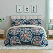 1888 Mills Peach & Oak Tribal Medallion 3 pc. Full/Queen Comforter Set/
