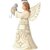Jim Shore Heartwood Creek White Farmhouse Angel with Cat Figurine