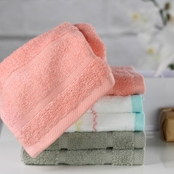 1888 Mills Oh Hello Pink and Gray 12 x 12 in. Washcloth 6 pc. Set