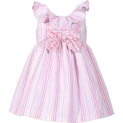 Bonnie Jean Infant Girls Striped Seersucker Ruffle Neck Dress
