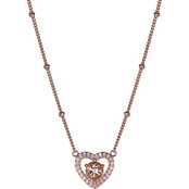 14K Rose Gold over Silver Morganite and Created White Sapphire Heart Necklace