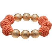jules b Coral Seed Bead Stretch Bracelet