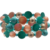 jules b Coral and Turquoise Shell Stretch Bracelet