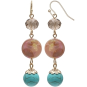 jules b Coral and Turquoise Shell Triple Drop Earrings