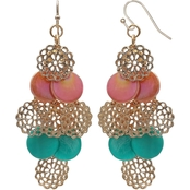 jules b Coral and Turquoise Shell Cascade Earrings