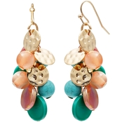 jules b Coral and Turquoise Cluster Bead Earrings