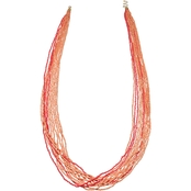 jules b Coral Seed Bead Long Necklace