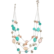 Jules B. Coral and Turquoise Shell Illusion Necklace