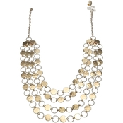 jules b Goldtone Hammered 4 Row 18 in. Necklace