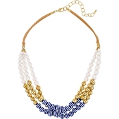 Carol Dauplaise Blue And White Striped Three Row 20 in. Necklace