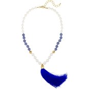 Carol Dauplaise Blue and White Striped Beaded Tassel 20 in. Necklace